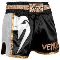Pantaloncini da Muay Thai Venum Giant - Nero/Bianco/Oro