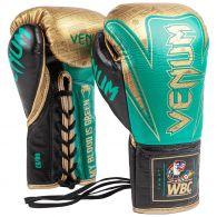 Venum HAMMER professionelle Boxhandschuhe - WBC limitierte Auflage - MIT SCHNÜRUNG - Metallicgrün/Gold