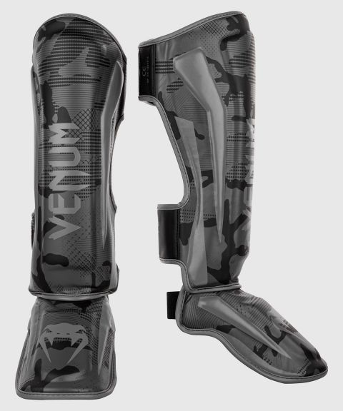 Venum Elite Shin Guards - Black/Dark camo