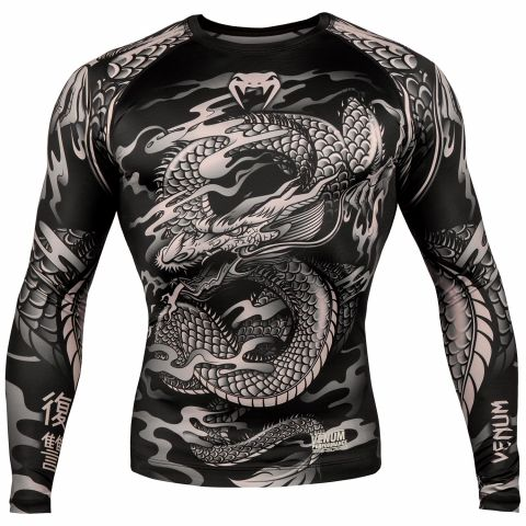 Venum Dragon's Flight Rashguard - Long Sleeves - Black/Sand