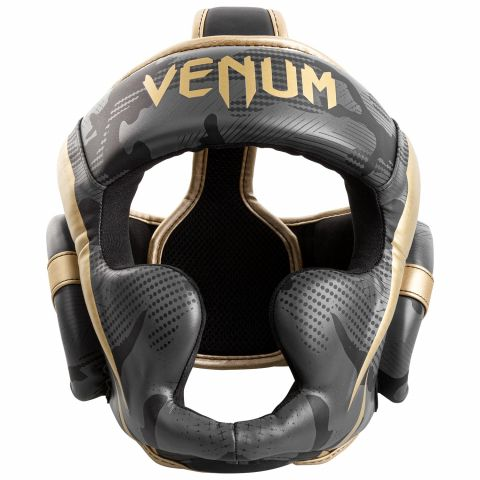 Venum Elite Boxing Headgear - Dark camo/Gold