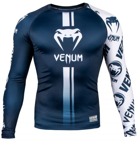 Venum Logos Rashguard - Long Sleeves - Navy Blue/White