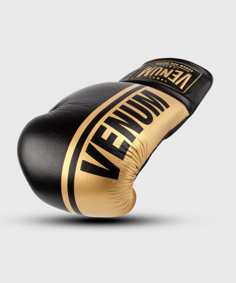 Venum Shield professionelle Boxhandschuhe - MIT SCHNÜRUNG - Schwarz/Gold