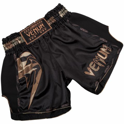 Pantalones Cortos de Muay Thai Venum Giant - Negro/Bosque Camo