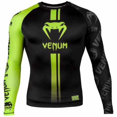 Venum Logos Rashguard - Long Sleeves - Black/Neo Yellow