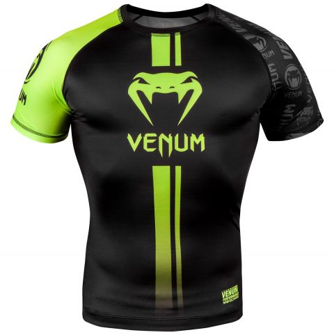 Venum Logos Rashguard - Short Sleeves - Black/Neo Yellow