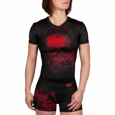 Camiseta de compresión Venum Santa Muerte 3.0 - Manga corta - Para mujeres  - Negro/Rojo