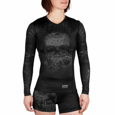 Camiseta de compresión Venum Santa Muerte 3.0 - Manga larga - Para mujeres  - Negro/Negro