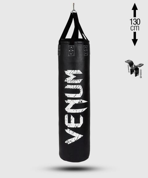 Venum Challenger Heavy bag + Ceiling Hook - Black/White - Filled - 130cm