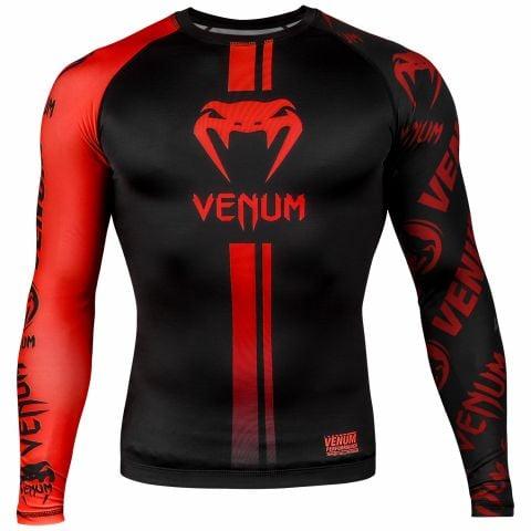 Rashguard Venum Logos - Maniche lunghe - Nero/Rosso