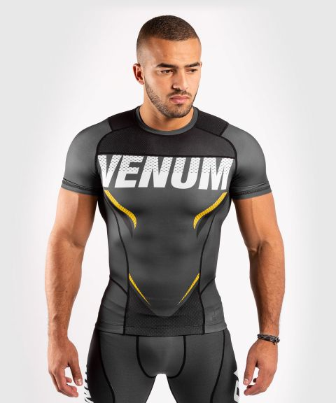 T-shirt de compression Venum ONE FC Impact - manches courtes - Gris/Jaune