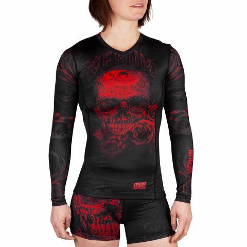 Camiseta de compresión Venum Santa Muerte 3.0 - Manga larga - Para mujeres  - Negro/Rojo