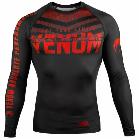 Venum Signature Rashguard - Long Sleeves - Black/Red