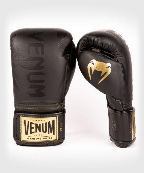 Venum Hammer professionelle Boxhandschuhe - Klettverschluss - Schwarz/Schwarz-Gold
