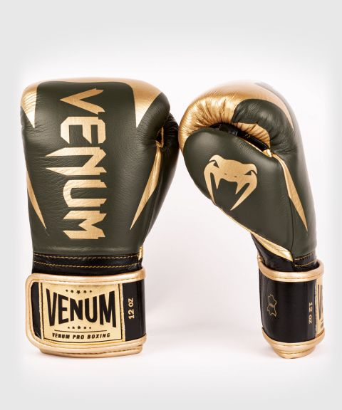 Venum Hammer professionelle Boxhandschuhe - Klettverschluss - Khaki/Gold