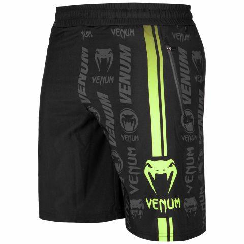 Short de Fitness Venum Logos - Negro/Amarillo Fluo