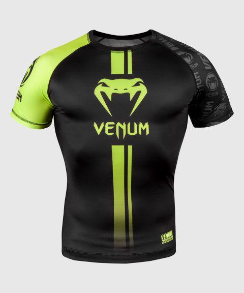 Venum Logos Rashguard - Korte mouwen - Zwart/Neongeel