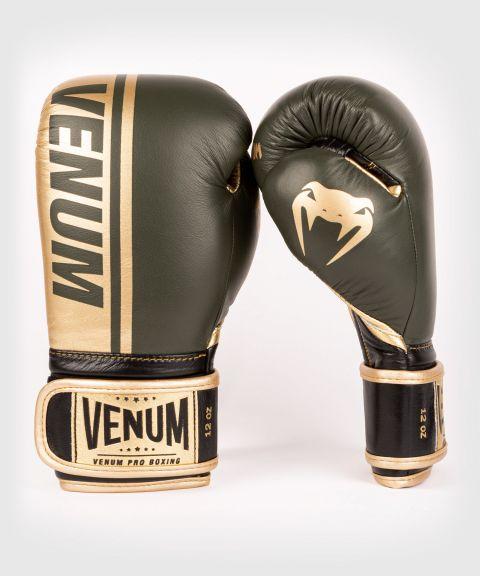 Venum Shield professionelle Boxhandschuhe - Klettverschluss - Khaki/Gold