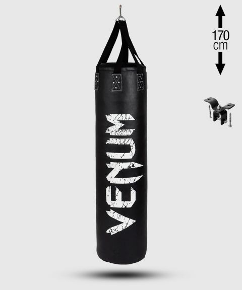 Venum Challenger Heavy bag + Ceiling Hook - Black/White - Filled - 170cm