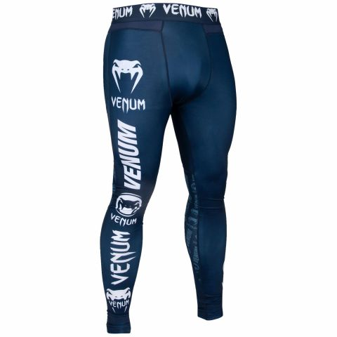 Venum Logos Kompressionshose - Marineblau/Weiß