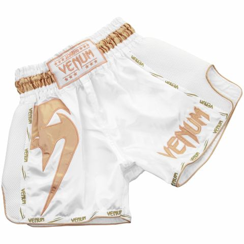 Short Muay Thai Venum Giant - Blanc/Doré - Exclusivité