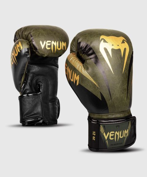 Venum Impact Boxing Gloves - Khaki/Gold