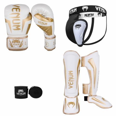 Venum Elite White/Gold Bundle