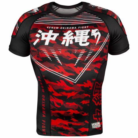 Venum Okinawa 2.0 Rashguard - Korte mouwen - Zwart/Wit/rood