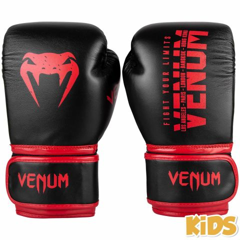 Venum Signature Kids Boxing Gloves - Black/Red