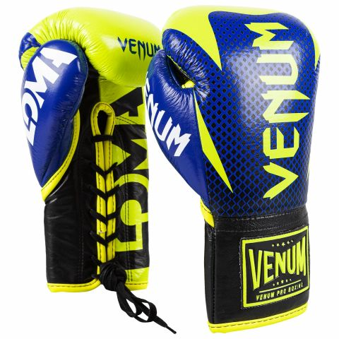 Venum Hammer Pro Boxhandschuhe Loma Edition - Mit Schnürung - Blau/Gelb