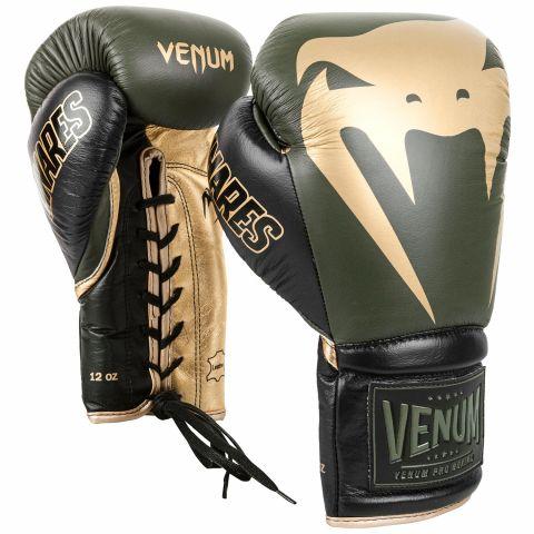 Venum Giant 2.0 Pro bokshandschoenen Linares-editie - met veters - kaki/zwart/goud