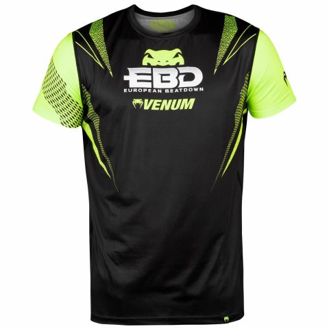 Camiseta Venum European Beatdown Dry Tech - Negro/Amarillo neón