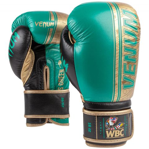 Venum Shield Pro Boxing Gloves WBC Limited Edition - Velcro - Green Metallic/Gold