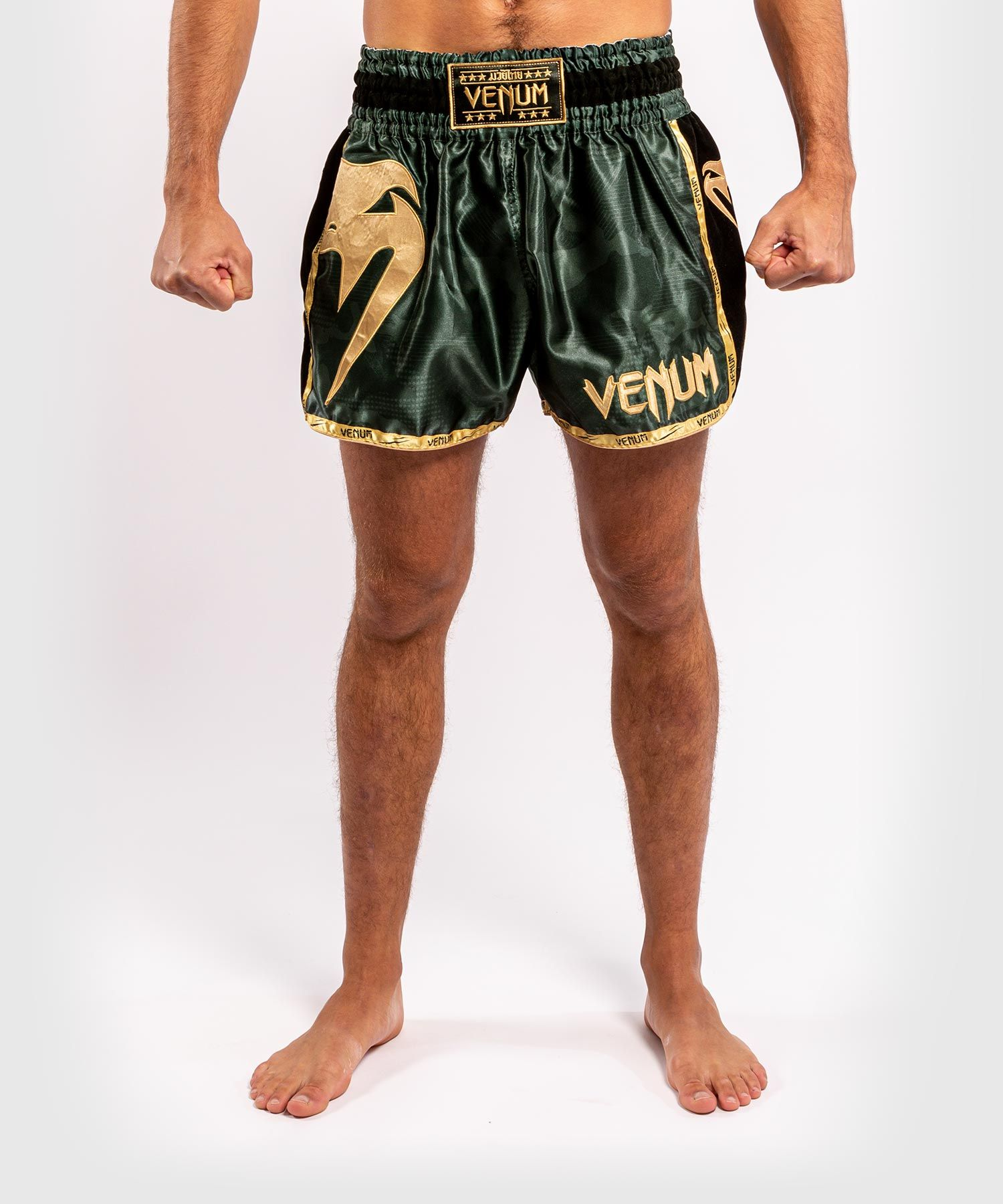 Venum Giant Camo Muay Thai Shorts - Khaki/Gold