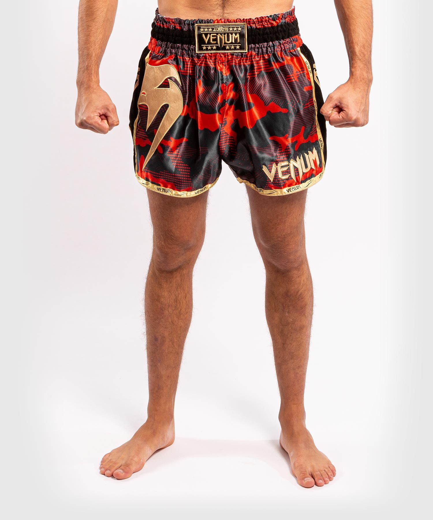 Venum Giant Camo Muay Thai Shorts - Red/Gold