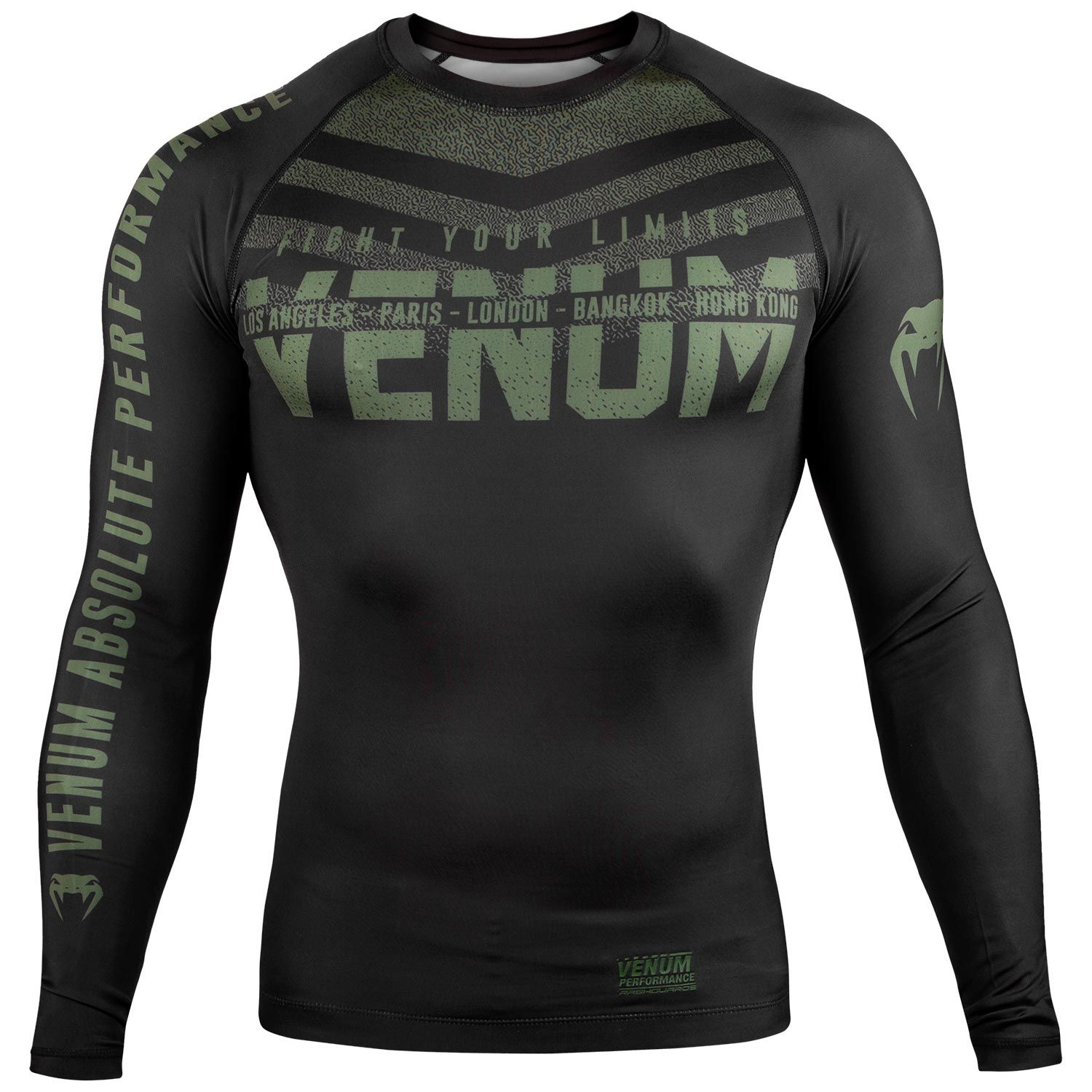Venum Signature Rashguard - Long Sleeves - Black/Khaki - Exclusive