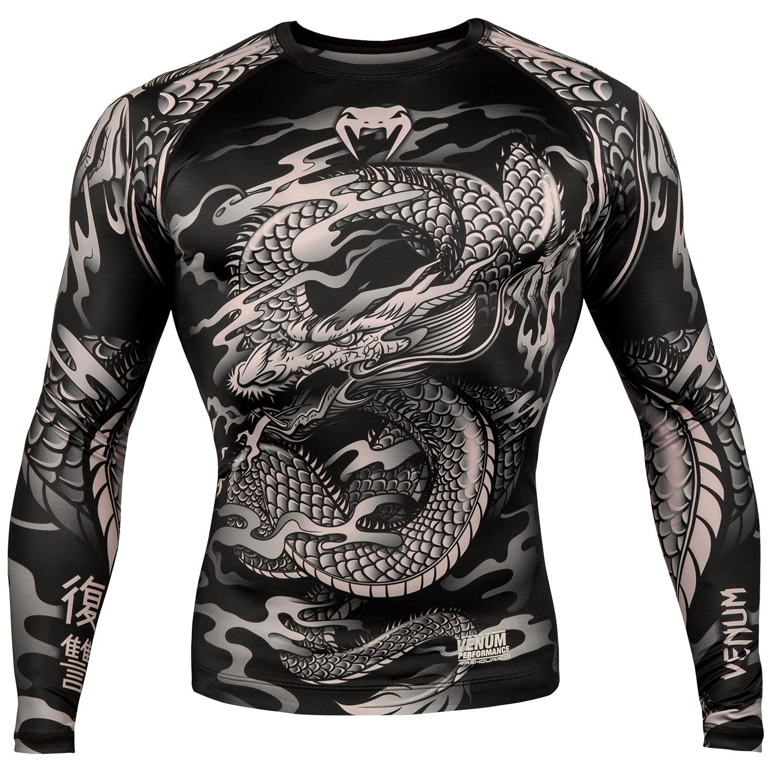 Rash guard Venum Dragon's Flight - Maniche lunghe - Nero/Sabbia