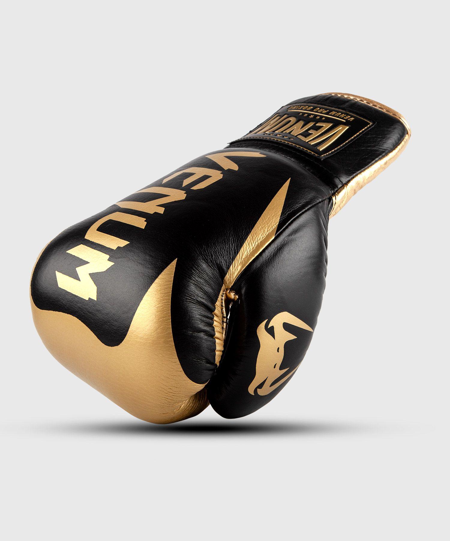 Venum HAMMER professionelle Boxhandschuhe - MIT SCHNÜRUNG - Schwarz/Gold