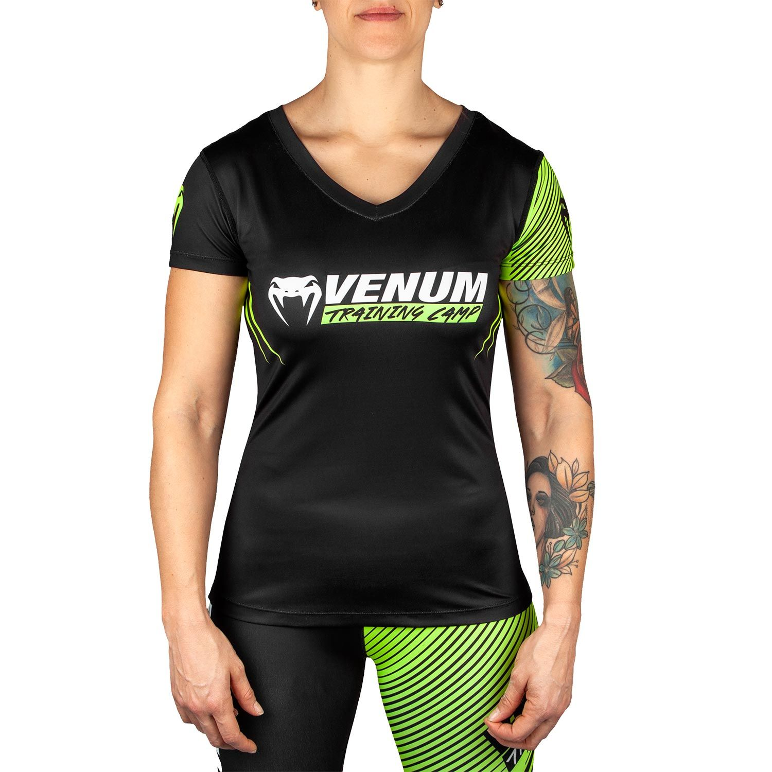 Camiseta Venum Training Camp 2.0 - Negro/Amarillo Fluo