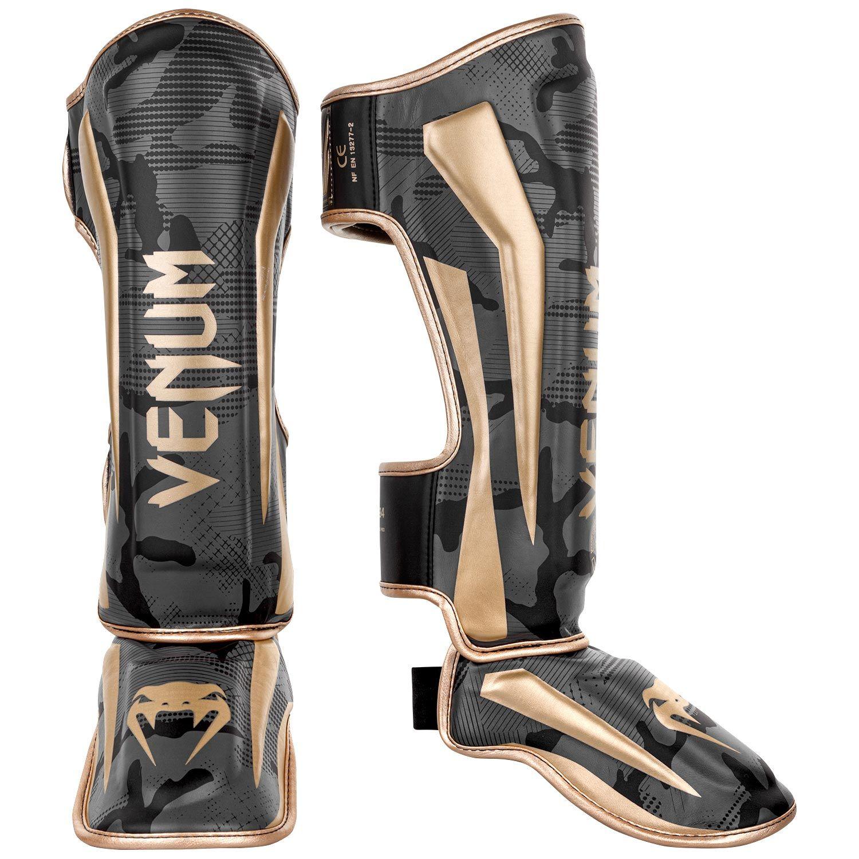 Venum Elite Shin Guards - Dark camo/Gold