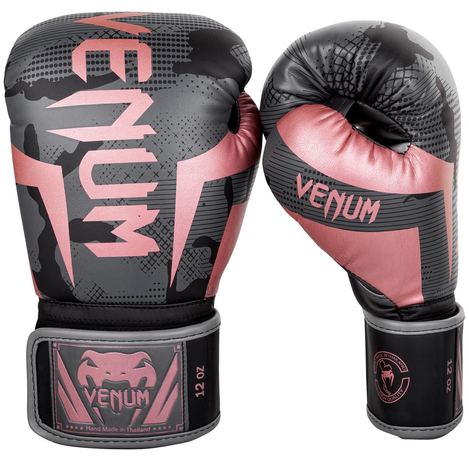 Venum Elite Boxing Gloves - Black/Pink Gold
