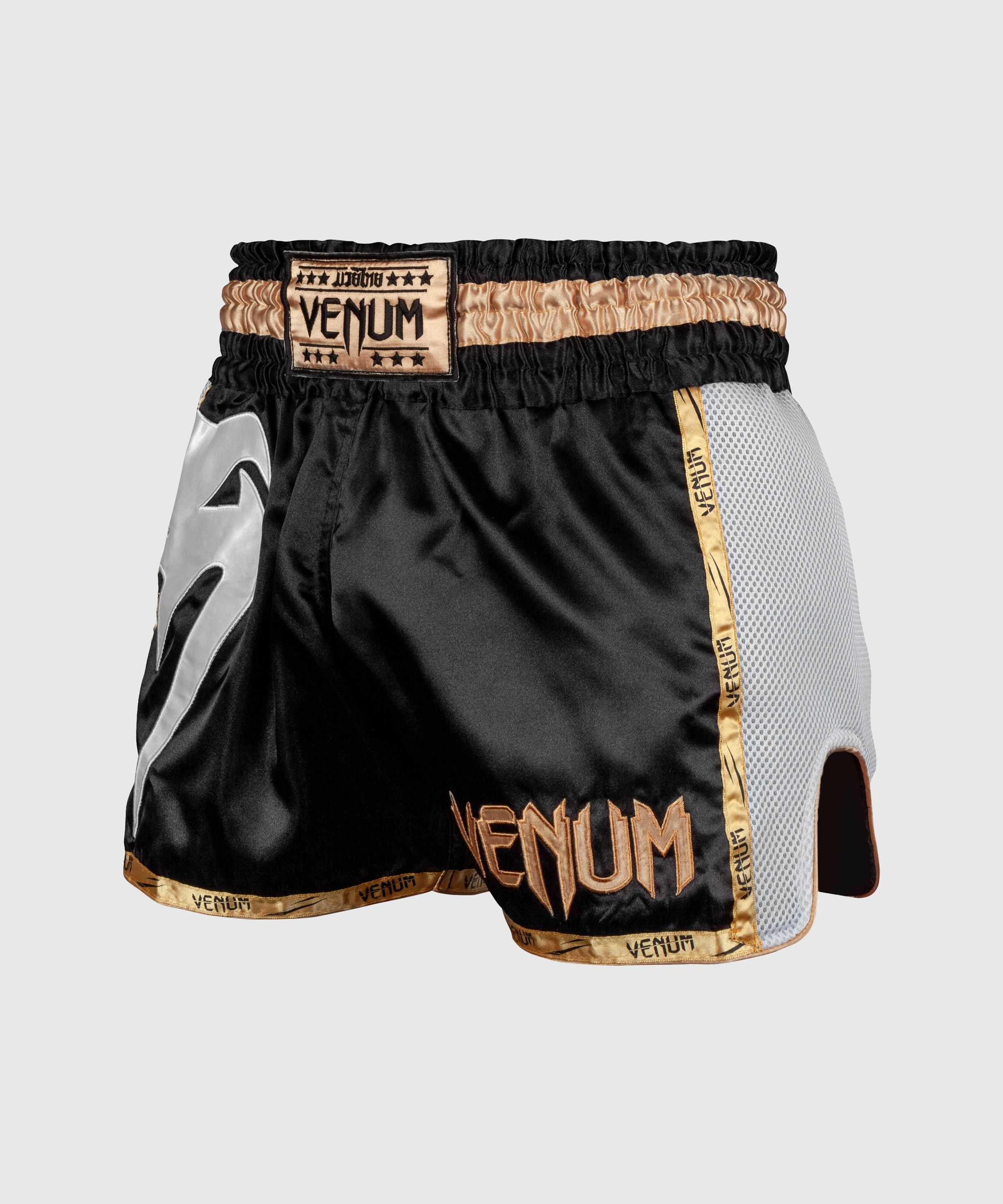 Pantalones Cortos de Muay Thai Venum Giant - Negro/Blanco/Oro