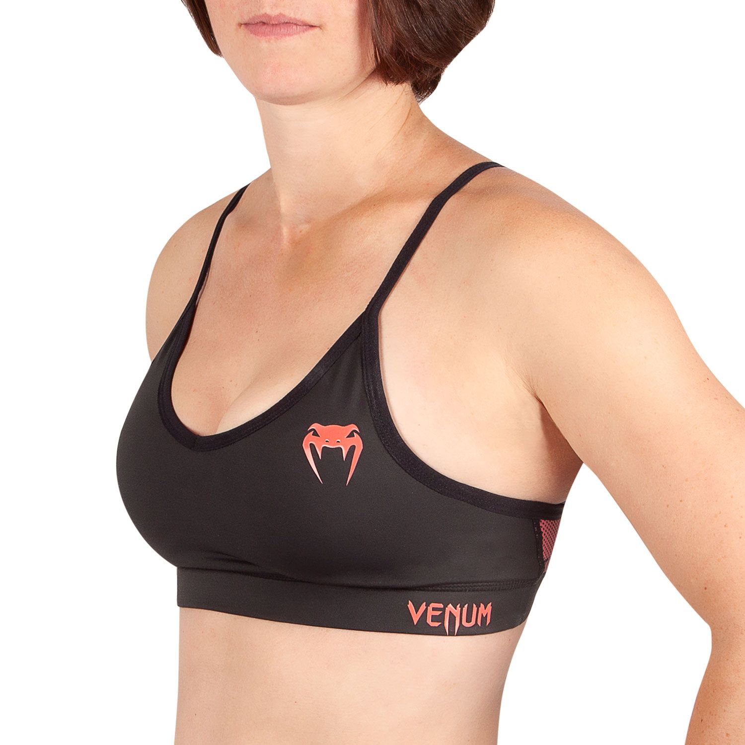 Venum Tecmo Sport Bra - For Women - Black/Coral