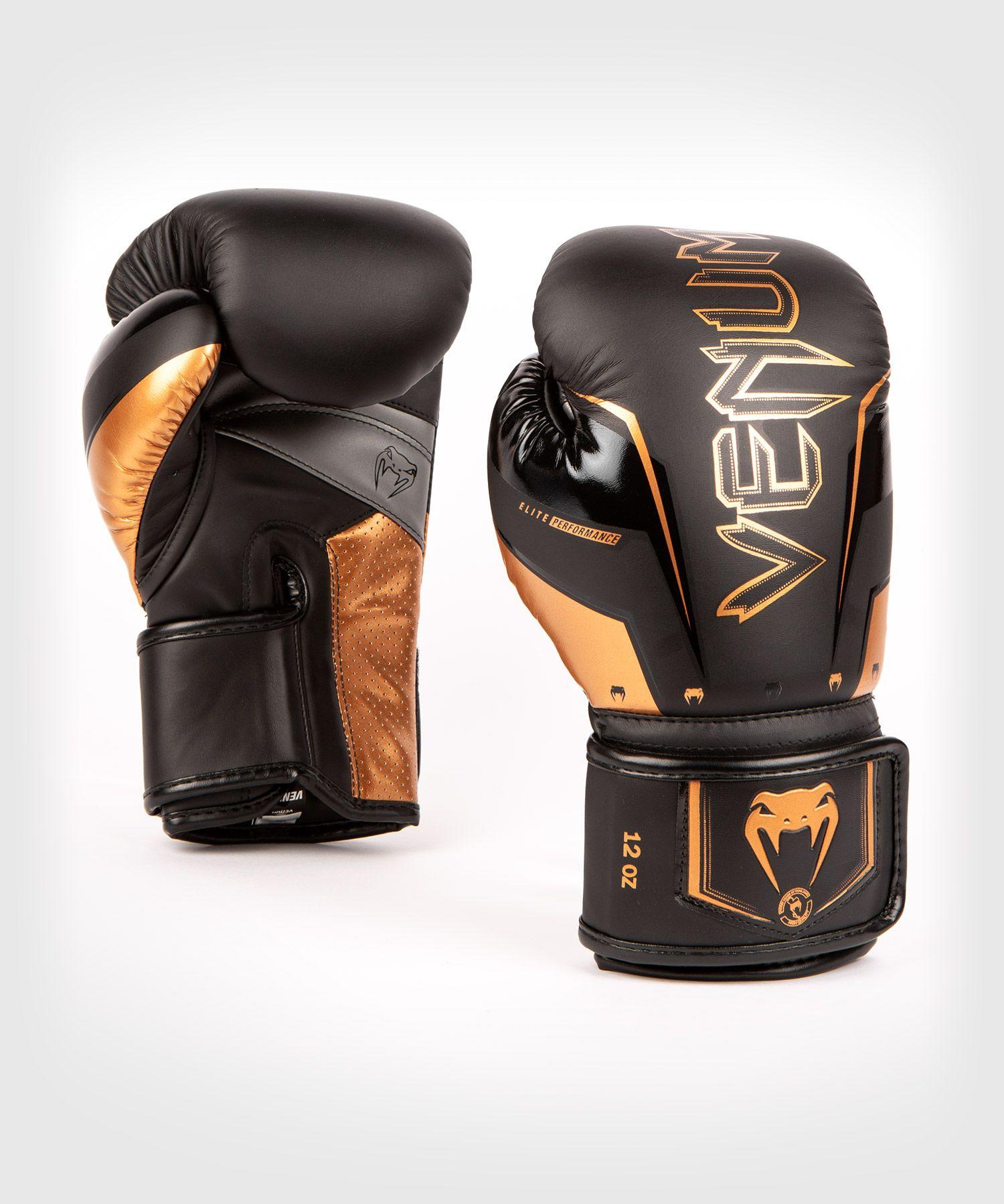 Venum Elite Evo Boxing Gloves - Black/Bronze