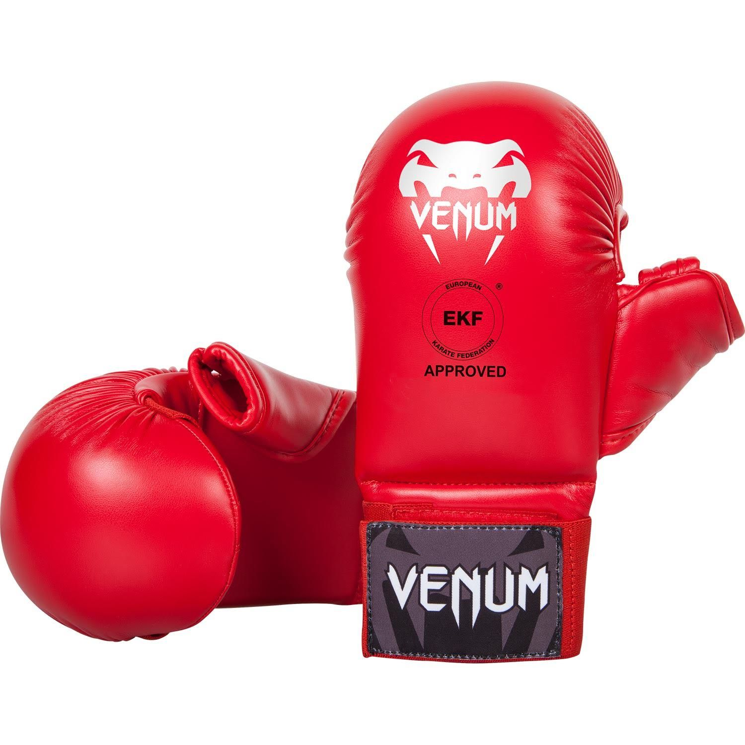 Venum Karate Mitts - With Thumb Protection - Red - Approved by the EKF