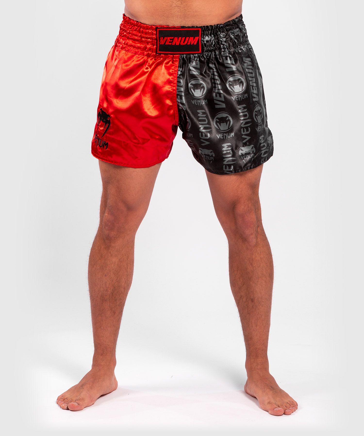 Pantaloncini da Muay Thai Venum Logos - Nero / Rosso