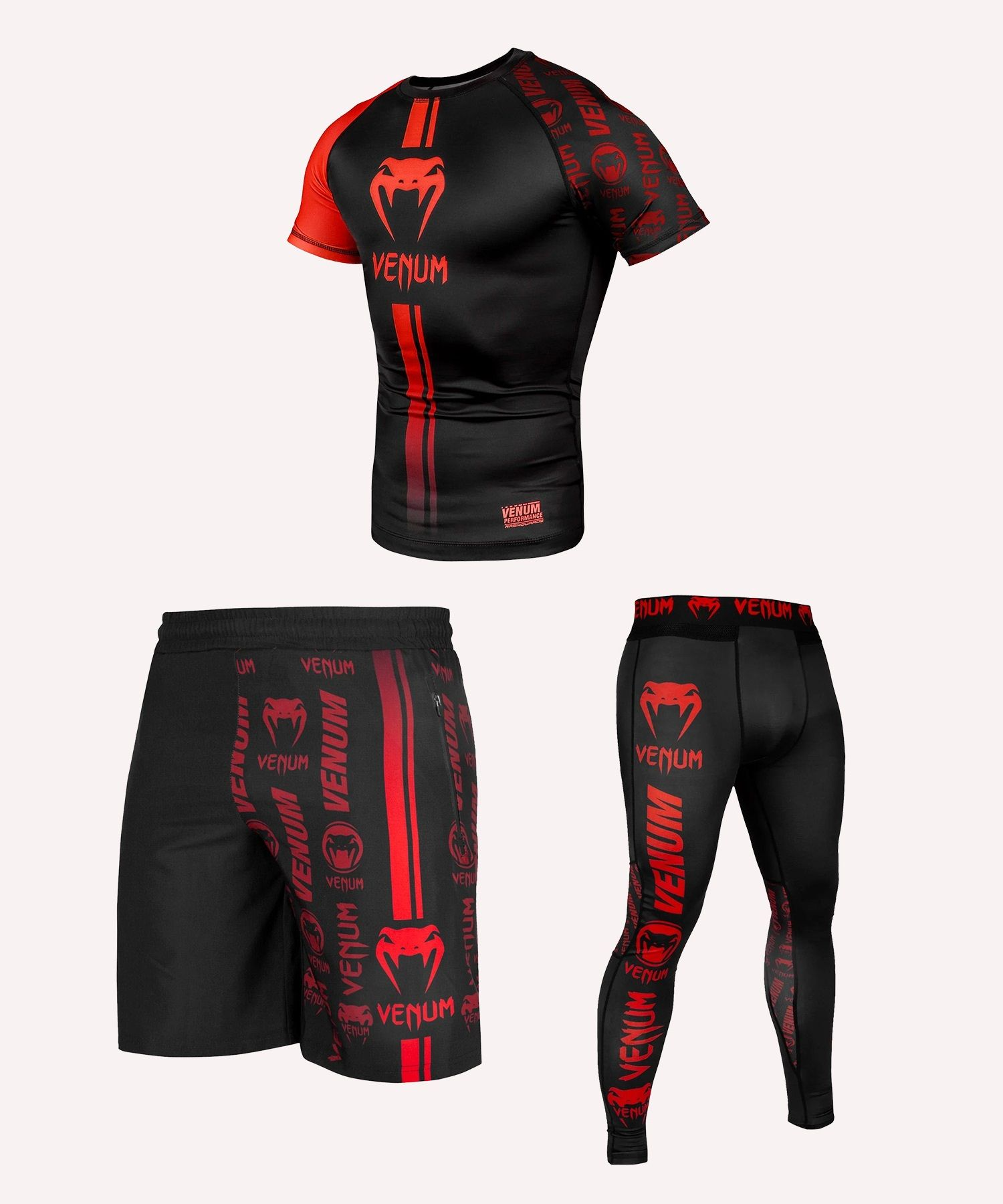 Venum Logos Black/Red ULTIMATE Pack - Short sleeves