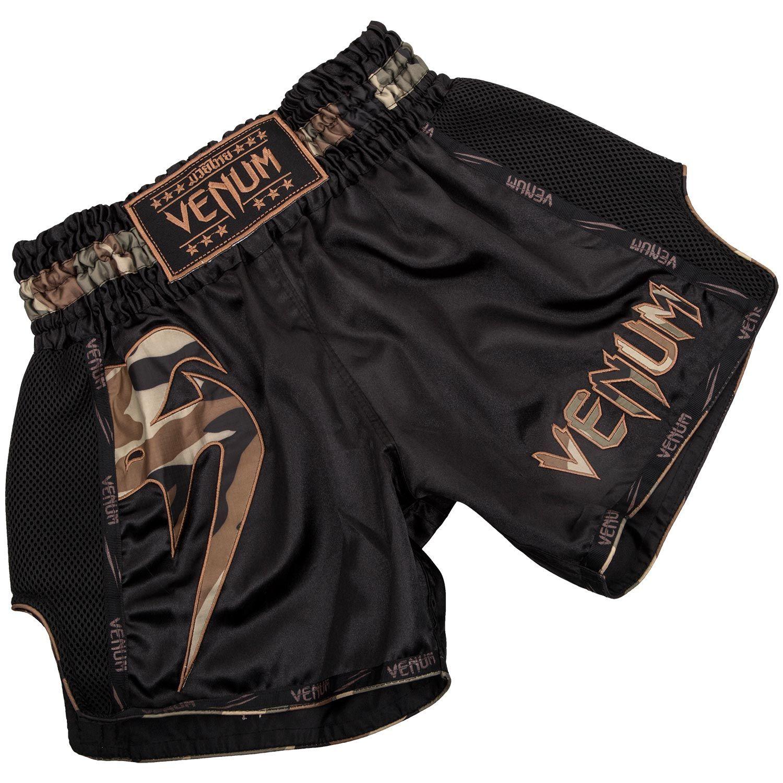 Venum Giant Muay Thai Short - Zwart/bosgroen camouflage