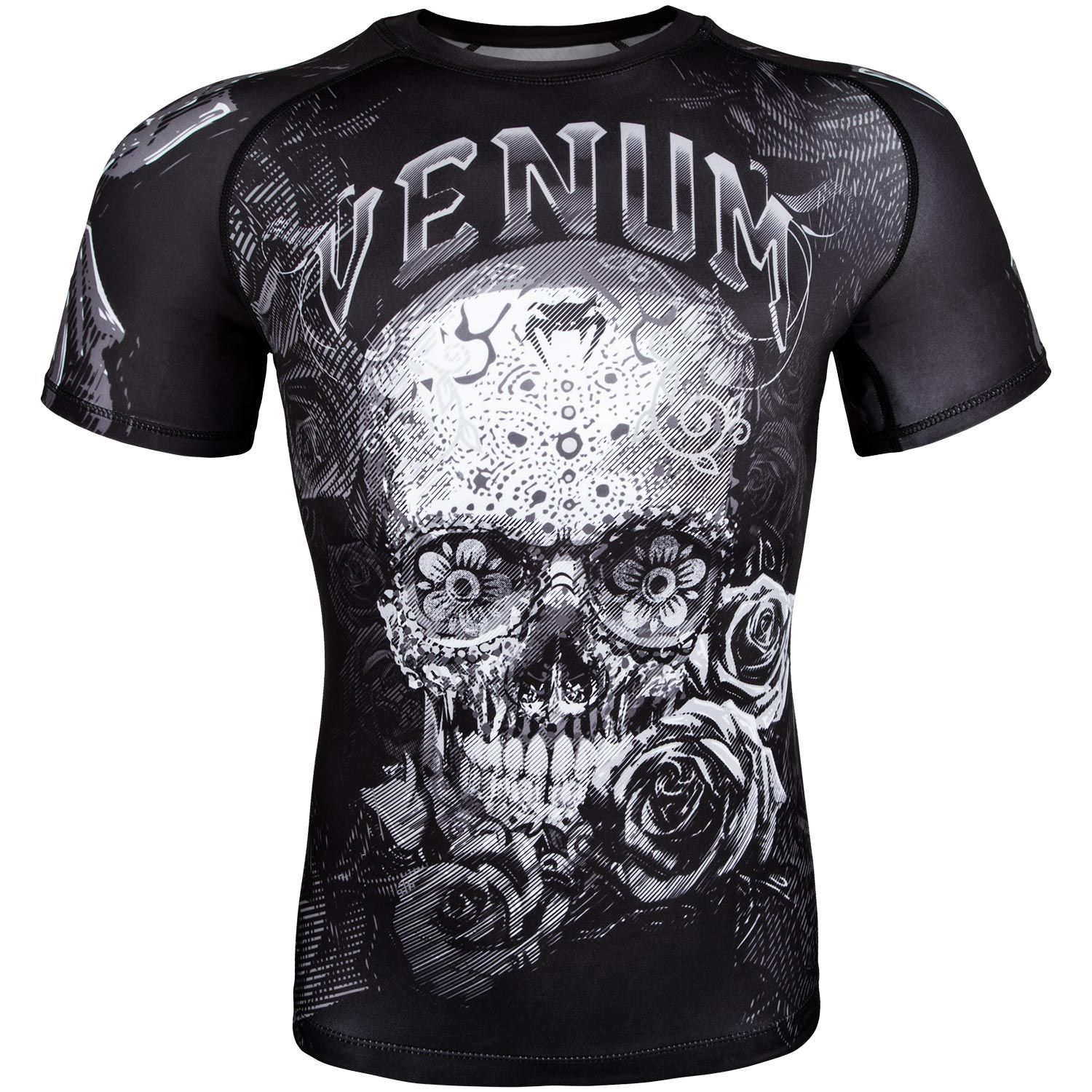 Venum Santa Muerte 3.0 Rashguard - Short Sleeves - Black/White