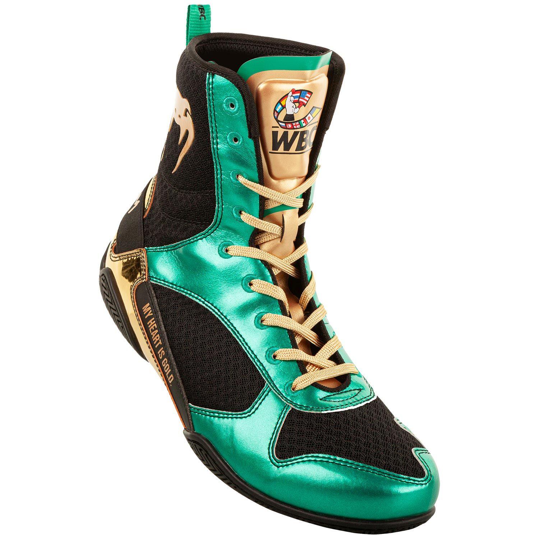 Botas de Boxeo Venum Elite - Edición limitada WBC - Verde metálico/Dorado